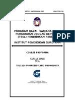 Tsl 3104 Phonetics and Phonology Course Proforma