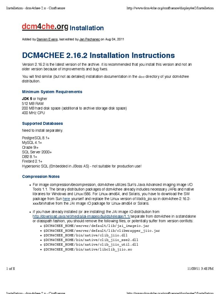 Installation dcm4chee 2x confluence databases java installation dcm4chee 2x confluence databases java programming language baditri Images
