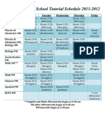 CHS Before and After School Tutorial Schedule 2011-2012