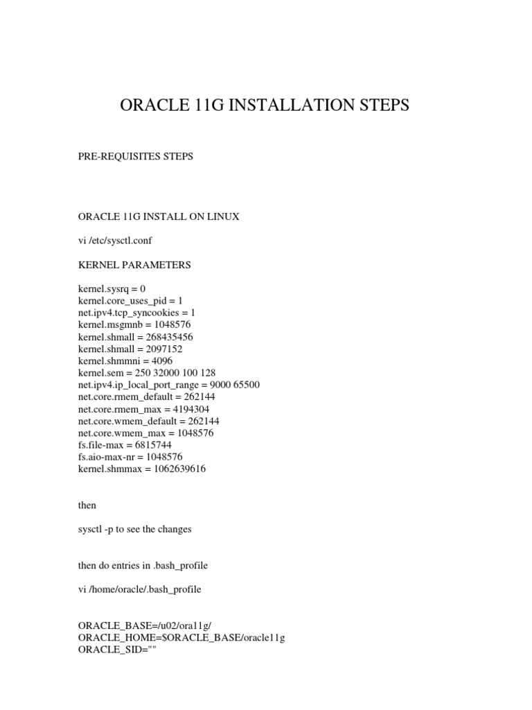 installation step of oracle 11g
