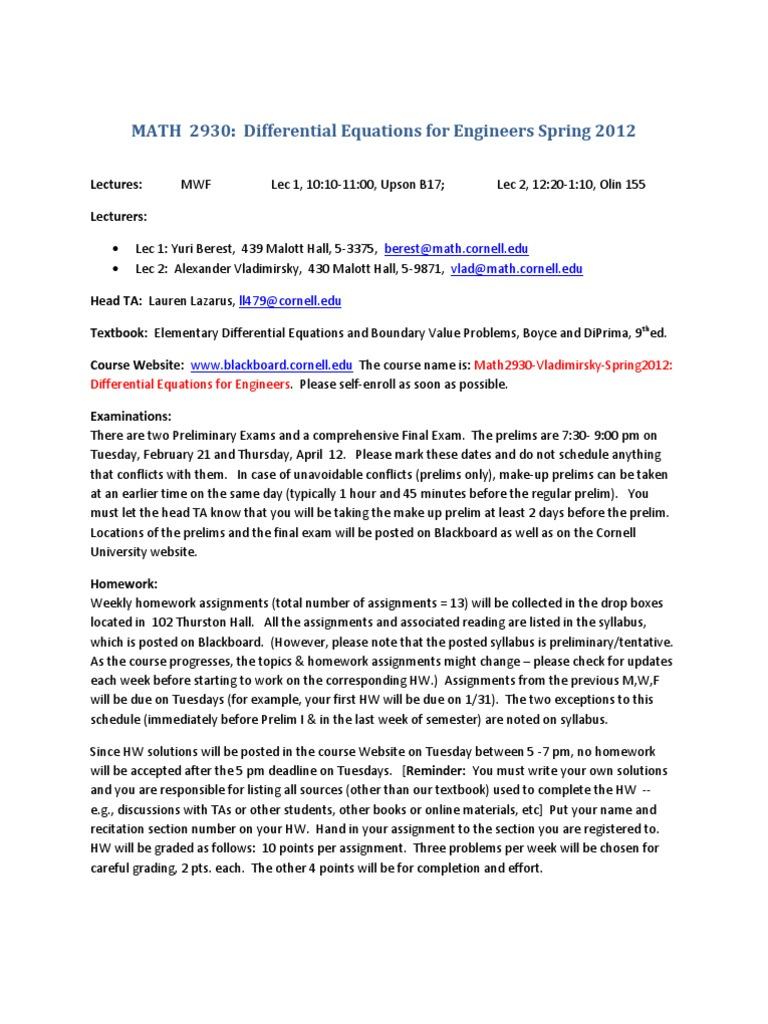 MATH 2930 Course Info(1) | Teaching Assistant | Homework