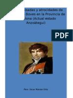 Huellas , Pisadas, Dessatres y Atrocidades de Jose Tomas Boves en La Provincia de Bracelona