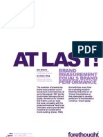 Forethought White Paper - At Last. Brand Measurement Equals