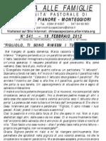 Lettera alle Famiglie - 19 febbraio 2012
