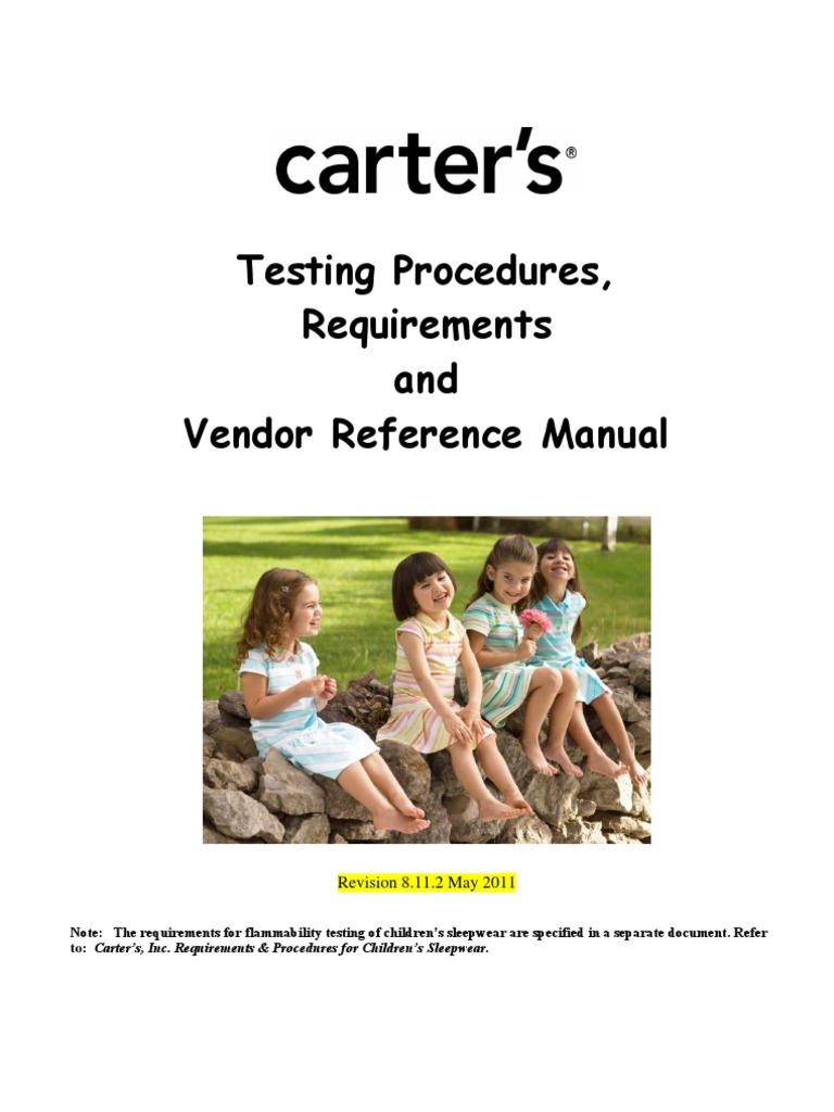 0c994564e Carter's Testing Procedures, Requirements & Vendor Reference Manual May  2011 | Textiles | Knitting