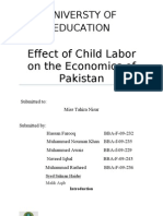 Effect of Child Labor on the Economics of Pakistan