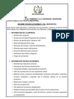 informe técnico-económico solicitud calificación amparo decreto 29-89