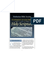 Trinitarian Bible Society Statement of Doctrine of Holy Scripture