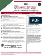 Potential Indicators of Terrorist Activities - Beauty Drug Distributors