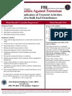 Potential Indicators of Terrorist Activities - Bulk Fuel Distributors