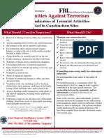 Potential Indicators of Terrorist Activities - Construction Sites