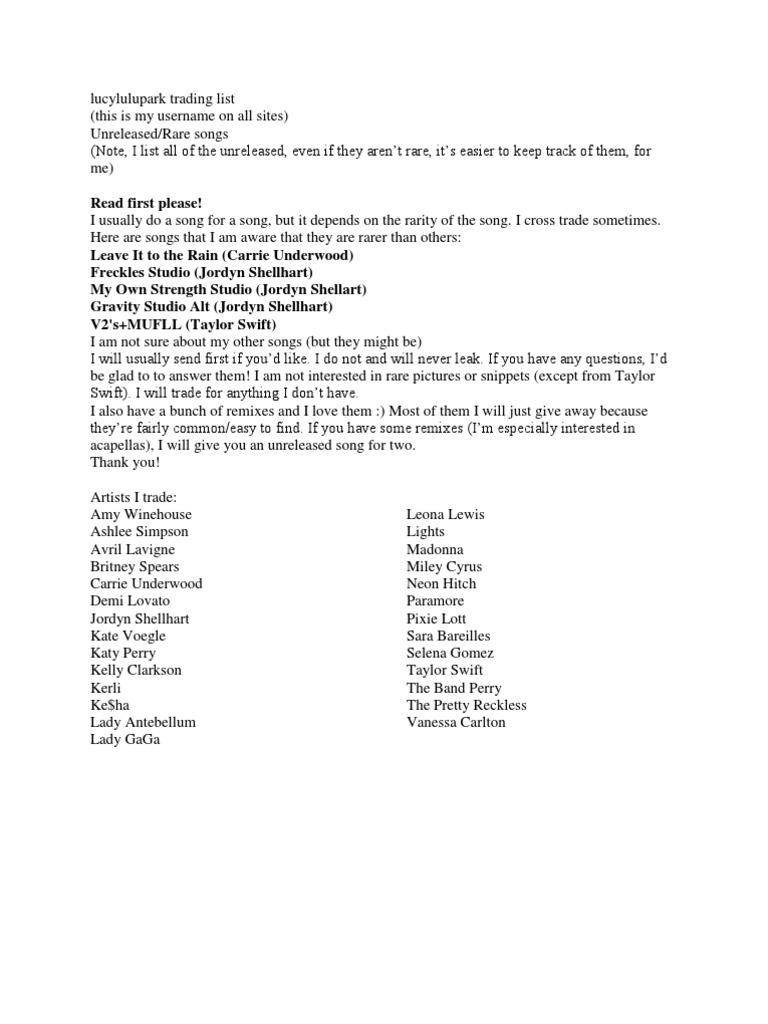 trading rare songs list