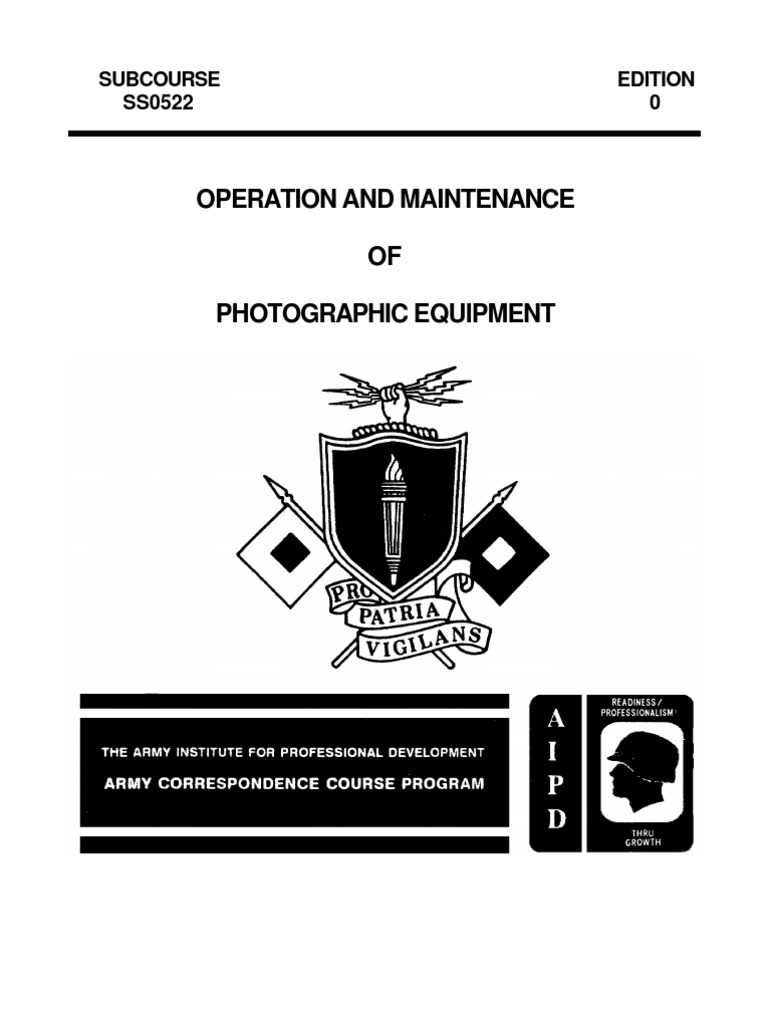 US Army Photography Course SS0522-0 - Operation and Maintenance of  Photographic Equipment | Shutter (Photography) | Exposure (Photography)