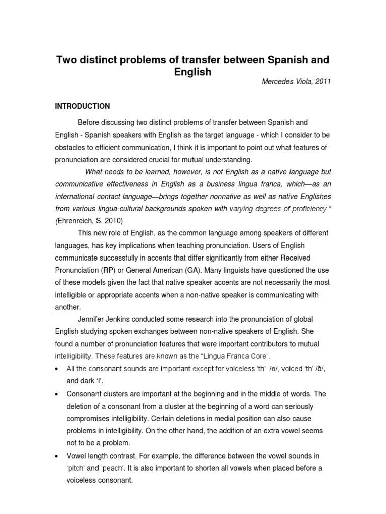 Two distinct problems of transfer between spanish and english stress linguistics english language