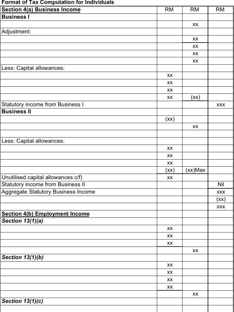 Format Individual Tax Computation Students Copy