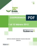Coordenadas Primera Quincena Febrero 2012