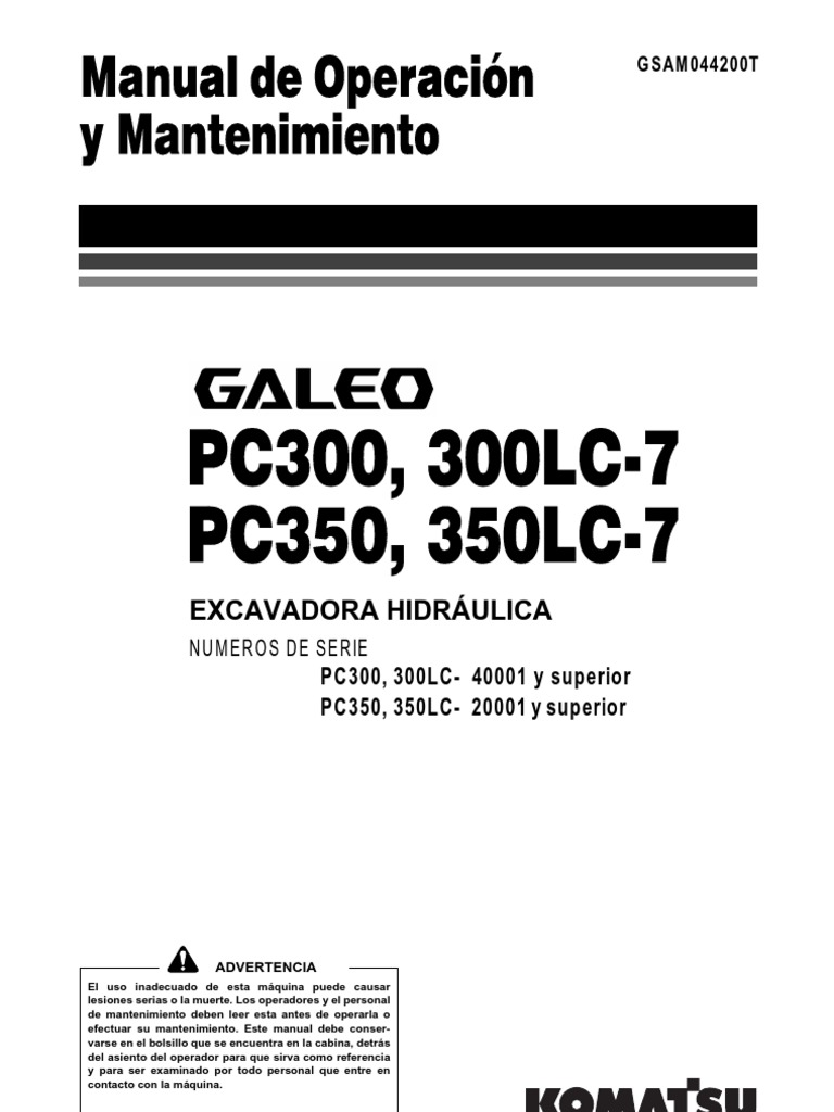 Excavadora Hidraulica Komatsu Galeo Pc300-7 Japan(Esp