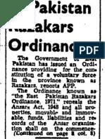 19710822 Po e Pakistan Razakars Ordinance