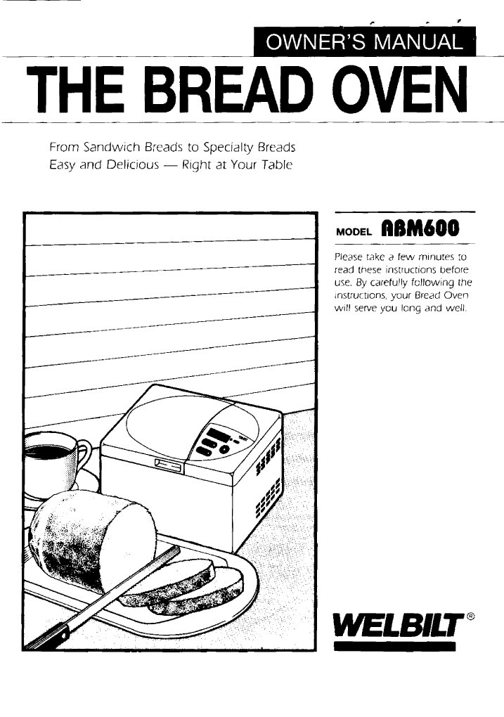 Welbilt ABM 600 Bread Machine Manual