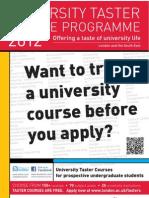 Univeristy Taster Courses Brochure 2012