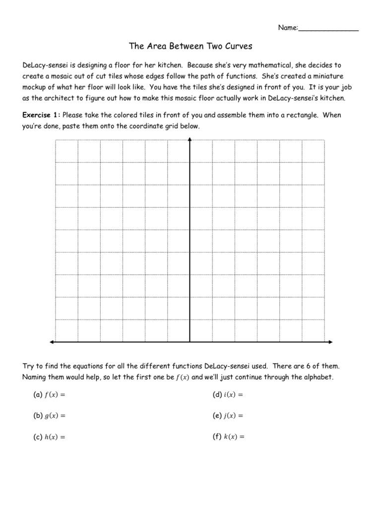 worksheet Area Between Curves Worksheet area between two curves worksheet