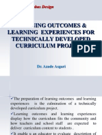 Learning Outcomes and Learning Experiences for Technically Developed Curriculum Projects in TESL * Dr. Azadeh Asgari