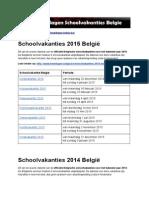 Schoolvakanties Belgie - Ontdek de exacte datums