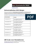 Schoolvakanties 2012 Belgie - Exacte datums op kalender