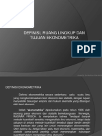 Definisi, Tujuan, Ruang Lingkup Ekonometrika