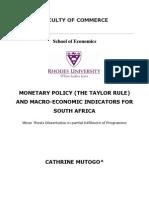 MONETARY POLICY AND MACRO-ECONOMIC INDICATORS