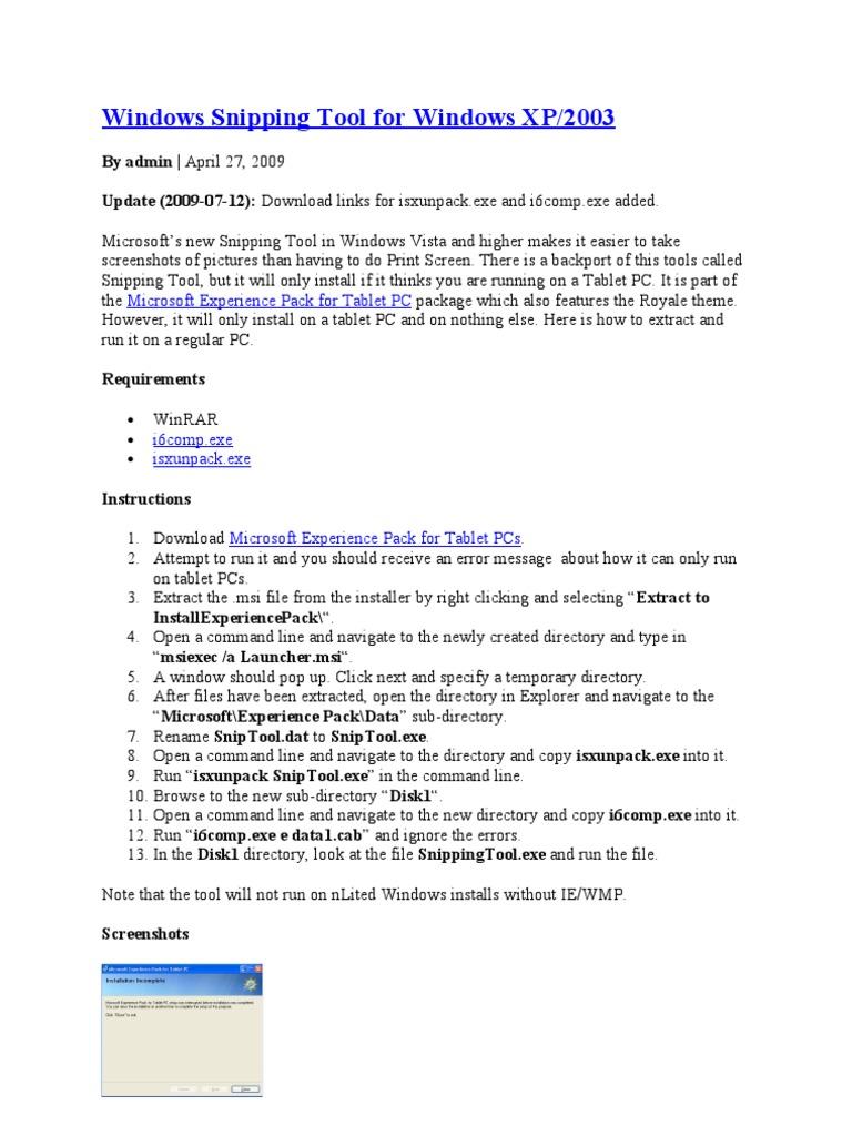 Windows Snipping Tool for Windows XP | Microsoft Windows