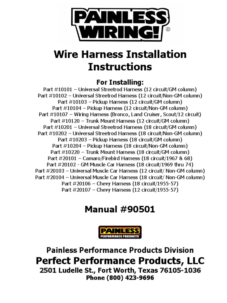 Wiring Harness Install Manual Simple Diagram Options Painless Systems Instructions Ignition System Radio