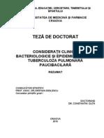 CONSIDERAŢII CLINICE, BACTERIOLOGICE ŞI EPIDEMIOLOGICE ÎN TUBERCULOZA PULMONARĂ PAUCIBACILARĂ