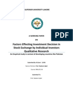 Factors Effecting Investment Decision in Stock Exchange by Individual Investor