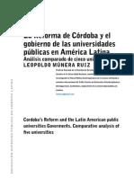 La Reforma de Córdoba y el gobierno de las universidades públicas en América Latina.