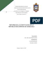 TRABAJO DE LA REFORMA DE LA COSNTITUCION EQUIPO ORLANDO Y YOLYMAR