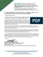 Letter of Endorsement for Neil Lomibao