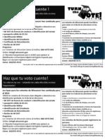 Turn Up the Vote Half-Sheet Door Lit. Spanish