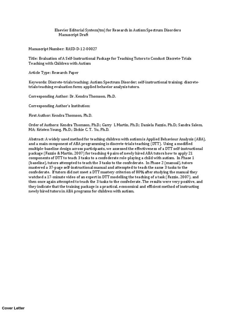 Rasd D 12 000271 Autism Validity Statistics