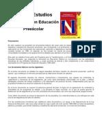 PLAN DE ESTUDIOS, LICENCIATURA EN EDUCACIÓN PREESCOLAR