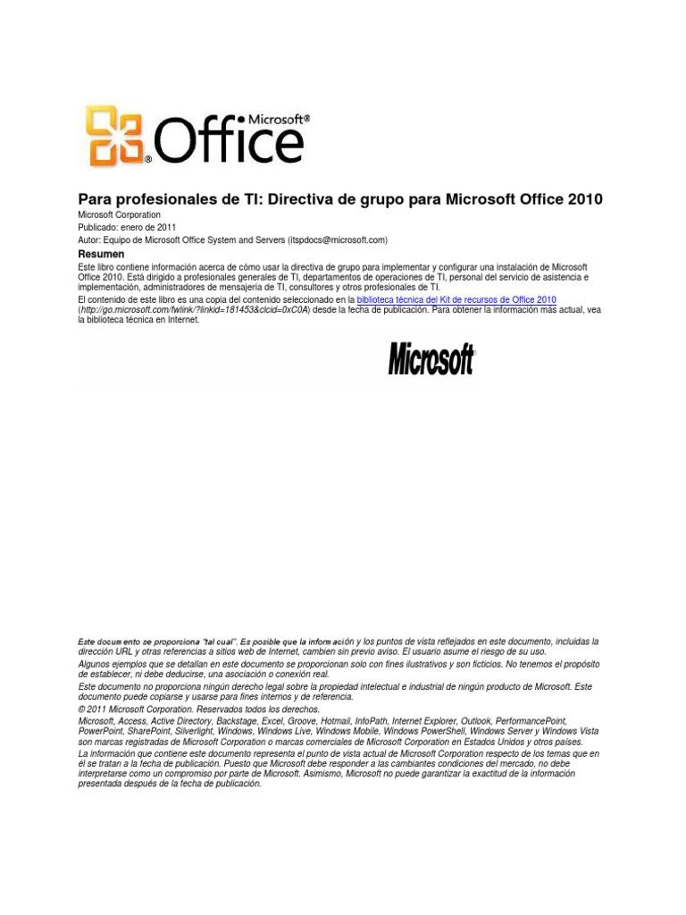 Directiva de Grupo Para Microsoft Office 2010