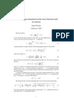 Winitzki - Approximation to Error Function