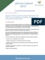 Adenda al Informe Ejecutivo de La Reforma Laboral 2012
