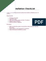 Linux Installation CheckList