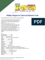 Philips Magnavox Universal Remote Code
