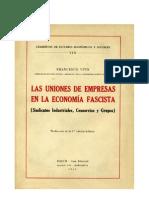 Las uniones de empresas en la economía fascista