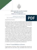 Mensaje Del Santo Padre Cuaresma 2012