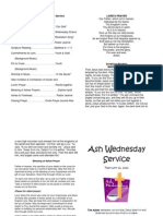 Ash Wednesday Bulletin for Service
