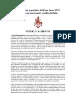 Constitución Apostólica del Papa Juan XXIII 'Veterum Sapientia'