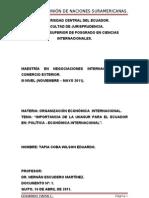 IMPORTANCIA DE LA UNASUR PARA EL ECUADOR EN POLÍTICA - ECONÓMICA INTERNACIONAL